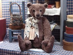 old fashioned felt teddy bear