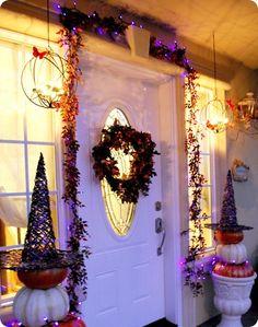 halloween decorations, halloween witches, front door decor, vintage halloween, witch hats, pumpkin, front doors, halloween decorating ideas, front porches