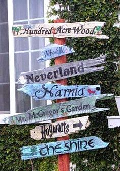 Directional sign posts for the garden Literary signpost made by Jeni McClellan