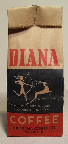 DIANA COFFEE Bag Vintage 1940s