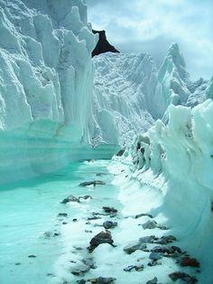 Crystal clear glacier stream on Karakorum Mountains