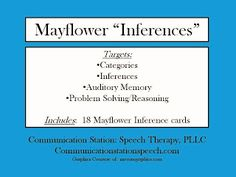 Mayflower Inferences!  - pinned by @PediaStaff – Please Visit ht.ly/63sNtfor all our pediatric therapy pins