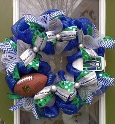 Seattle Seahawks Throwback Wreath for the 12th Man- or Woman ;) custom order the throwback or new school Seahawks colors! Getting ready for Seahawks game day!