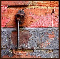 nice mixtur, textur, bricks, paints, peel paint, rust, color combin