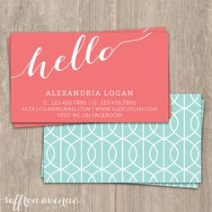 business card - see how the use of negative space and proximity make this card easy to read.  Hello in the large bold font provides a great contrast point to draw your eye into the card.