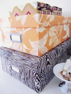 DIY Faux-Bois Organizer Boxes from ShoeBoxes