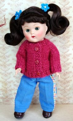 "Pomegranate PiNK Handknit Sweater and Jeans Set for Vogue's Vintage or Vintage Reproduction 7.5"" dolls by KarmelApples on Etsy. Fits Muffie, M.A. 7.5"" dolls too. Free shipping!"