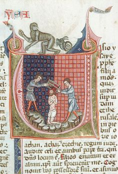 demonagerie:    Tours - BM - ms._0008, f. 327v (martyrdom of Isaiah with butt-licking snail). Bible. Spain, c.1320 (?).