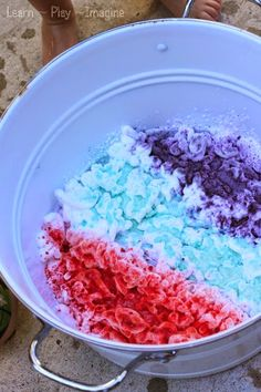 Bubbling shaving cream play recipe, perfect for a messy play date!
