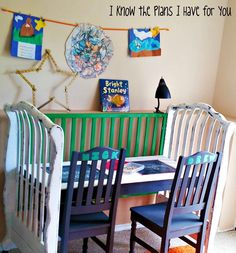 Shut up.  Seriously cute idea! Ideas, Crafts Stations, Cribs Turn, Recycle Furniture, Kids Crafts, Child Crafts, Crafts Tables, Homework Stations, Baby Cribs