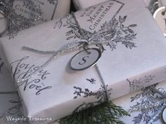 handstamped Christmas paper...beautiful!