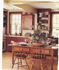 kitchen from Classic American Homes kitchen style, windsor chairs, hang cupboard