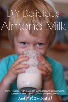 Delicious, healthy, DIY, 2 minute Almond Milk!  Packed with nutrients and minerals, no additives or chemicals or hormones, and SO GOOD! #Healthyrecipes #DIYAlmondMilk #Plantbased #HealthyLiving #AlmondMilk #DairyFree