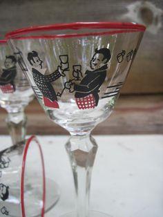 Vintage Martini Crystal Glasses