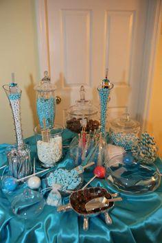 candy buffet, blue candi, candi tabl, candi buffet, candi bar