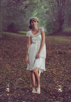 i love this short simple but romantic wedding gown - she looks like a forest fairy!  perfect for a whimsical woodland wedding.