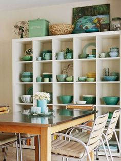 dining rooms, storage area, wall displays, blue, color, bookcas, cubbi, kitchen, open shelving