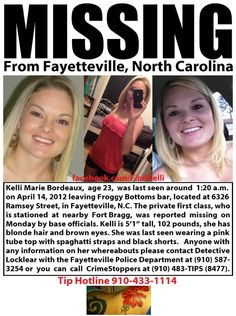 Kelli Bordeaux, Missing Fayetteville North Carolina, http://www.missingpersonsofamerica.com