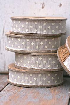grey and white polka dots ribbons