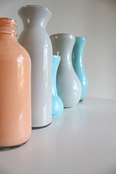 Tutorial -Painted vases mason jars bottles  www.quiltish.blogspot.com