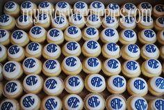 monogrammed cupcakes!