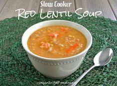 soups, vegan, red lentil soup, slow cooker, cooker red