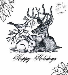 **FREE ViNTaGE DiGiTaL STaMPS** freebie printable - Happy Holidays