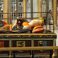 Robert, Duke of Normandy. Son of William the Conqueror; was intended to be king after the death of his brother William Rufus but their younger brother Henry I had other ideas! I had no idea he was buried in England