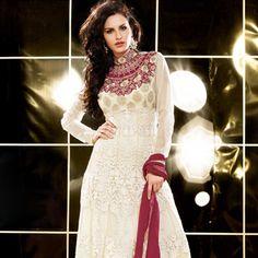 Cream Net Churidar Kameez