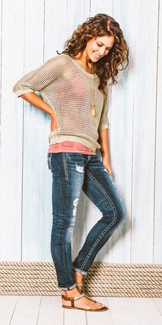 Cute casual outfits jeans and lace top. . . click on pic to see more