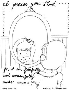 This coloring page would be a great reminder to our sponsored children that they are fearfully and wonderfully made by God. (There is a boy version available too!) #coloringpage