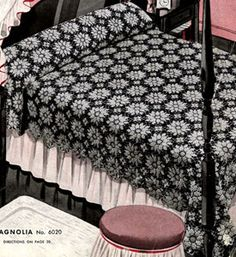 Magnolia Bedspread crochet pattern from Bedspreads, originally published by the Spool Cotton Company, Book 151, in 1940. magnolia bedspread, free pattern, crochetblanket, crochet pattern, bedspread pattern