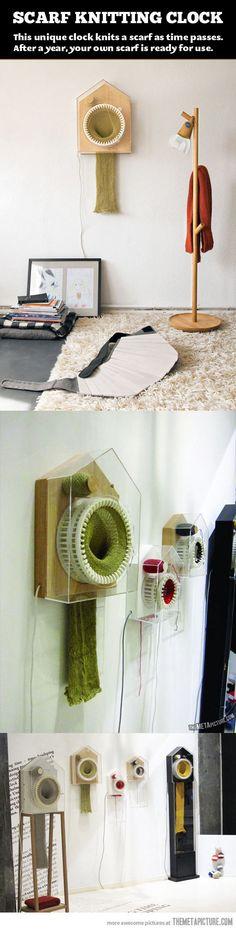 scarf knitting clock
