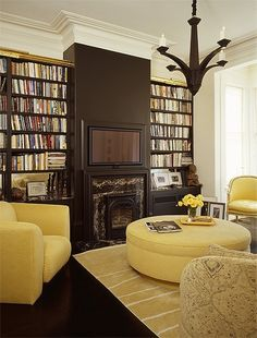 Chocolate and Yellow room. Not usually my favorite but I love what they did with the fireplace and tv.