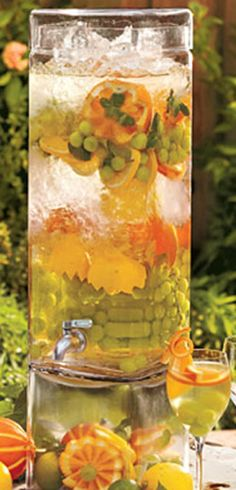 Recipe for Luxurious Spa Water - The glorious fruit and herb infused waters they always have available to you at a luxury spa. Below you'll find 12 flavor blends.