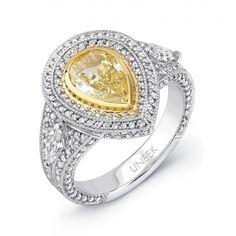 shape diamond, ring featur, yellow diamond, pear shape, yellow pear