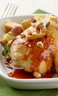 Braised Chicken on Sweet Onion and Grape Hash. See recipe here: http ...