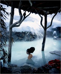 In Tsurunoyu Onsen's main bathing pool, where guests soak for hours in the hot (and supposedly beneficial) waters.  Photographed by Raymond Meier    Winter Fashion in Japan - The New York Times