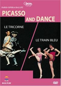 Between 1917 and 1962, Picasso was involved in creating the designs for nine ballets. Le Train Bleu (The Blue Train) dates from 1924 and Le Tricorne (The Three-Cornered Hat) from 1919. These two historic ballets, created originally by Sergei Diaghilev, have been revived by the Paris Opera Ballet. Le Train Bleu is an operetta dansé of a chic and flippant society. DVD 87