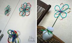 Faça flores reciclando cabos de energia ou usando arames. Multi-uso.  #craft #recycle #diy #artesanato