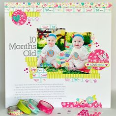 baby layout by Ginger Williams.... NO patterned paper is used on this layout!
