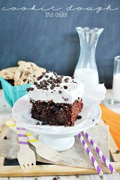 BTS Cake with a frosting twist-- Cool Whip that tastes like Cookie Dough! www.somethingswanky.com