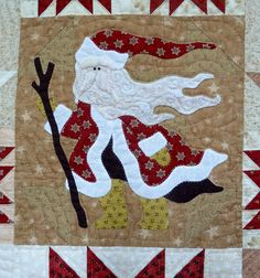"Close-up, ""Classic Santas"" quilt pattern by Sue Garman"