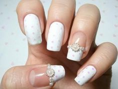 white - polka dot- bling - wedding - french nail art