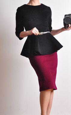 Winter peplum style blazer with flared hem in black wool with 3/4 sleeves. . By yystudio