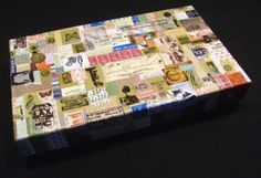 Upcycled gift box with decoupage lid by Carolyn Hasenfratz.