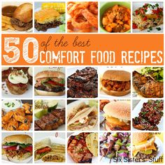 50 of The Best Comfort Food Recipes from www.SixSistersStuff.com.  50 of our favorite recipes that are delicious and good for the soul! :)