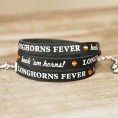 leather wrap bracelets, longhorn black
