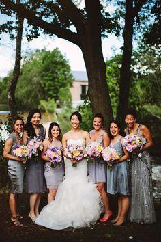 bridesmaids in silver and purple, photo by Pat Furey http://ruffledblog.com/roundhouse-beacon-wedding #bridesmaiddresses #weddingideas