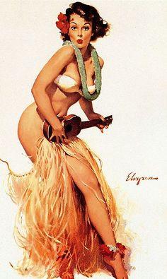 Hula Girl Pin Up By Gil Elvgren